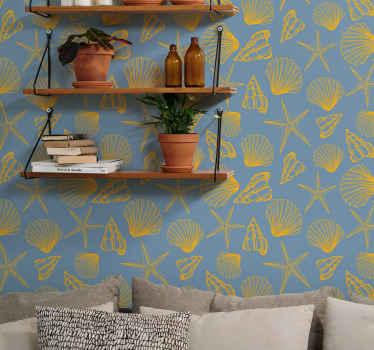 貝殻の壁紙の美しいパックセット。デザインの貝殻のプリントは青い色の背景に作られています。オリジナルで簡単に適用できます。