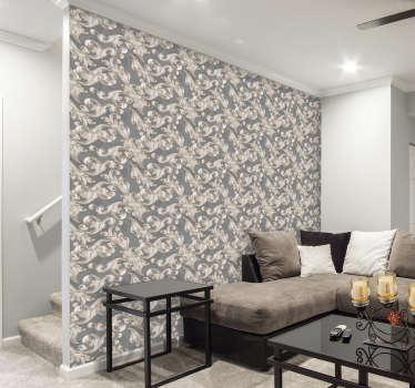 Estupendo papel pintado para decorar de patrones con filigranas grises florales. Decora tu hogar, compra tu papel pintado y crea nuevos ambientes.