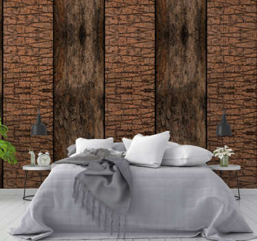 Rustic nature wallpaper with a pattern formed by wide bands to imitate the wood of the tree trunks with two different types.