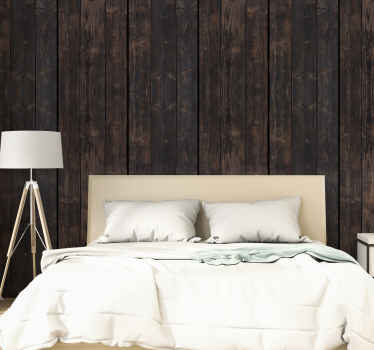 Complement your rustic or classic decor with this wonderful textured and patterned wallpaper imitating dark brown wood. Easy to apply.