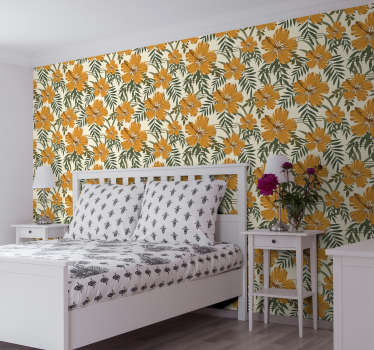 Floral Grey Ornamental Wallpaper
