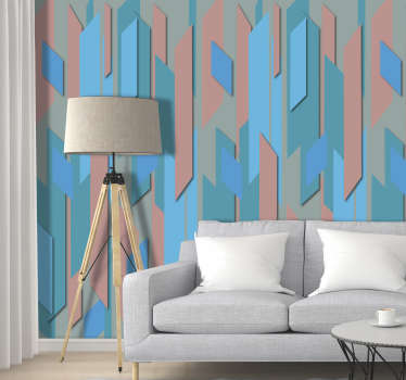 Let go of the dull and monotonous white walls and add life and color to your home with this original modern living room wallpaper with a blue pattern.