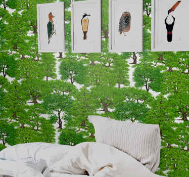 An amazing bedroom headboard wallpaper design of green tree forest. A  design to give a breath of freshness of green trees in your home.