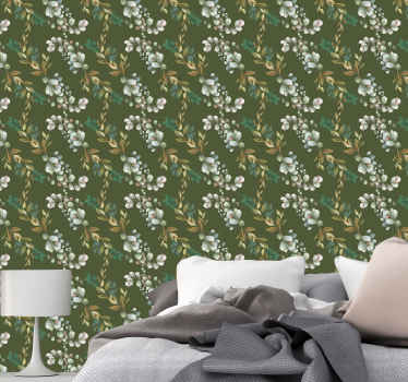 Leaves and branches green background wallpaper. Ornamental flower design pattern to beautify any part of your home. Available in any size you want.