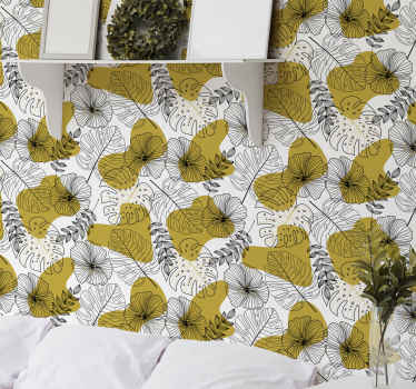 Golden tropical leaves tree wallpaper. Beautiful design to decorate any space in the home. It is easy to apply and of good quality.