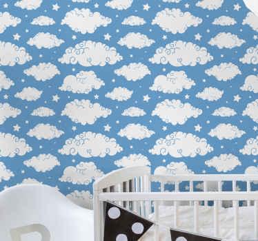 Céu azul decorativo com papel de parede infantil de nuvens. Belo produtopara criar uma atmosfera incrível no quarto do seu filho. Original e duradouro.