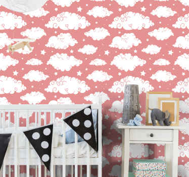 Céu rosa com papel de parede infantil de nuvens. Belo produtopara criar uma atmosfera incrível no quarto do seu filho. Muito fácil de aplicar e removível.