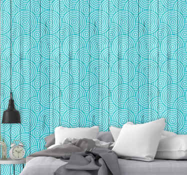 Wonderful vintage geometric with wooden cercles bedroom wallpaper for the bedroom. A great design with illustrations that is easy to use.