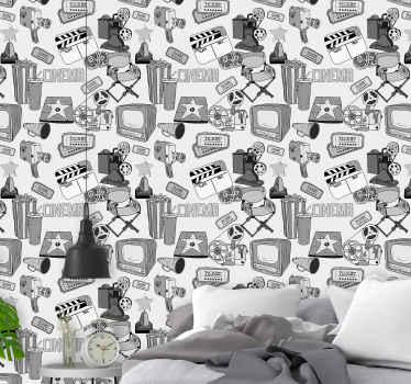 Papel pared vintage con cuadros en blanco y negro de Hollywood para el dormitorio. Producto muy fácil de colocar ¡Envío exprés!
