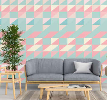 Geometric triangle wallpaper which features a lovely pattern of triangles in various bright colours. Extremely long-lasting material.