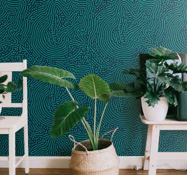 An ornamental green tangled striped wallpaper decoration for your home and other spaces. It is original, durable and easy to apply.