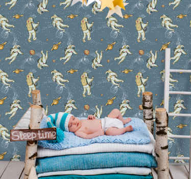 Childrens wallpaper which features a pattern of astronauts flying around space and planets. High quality materials used.