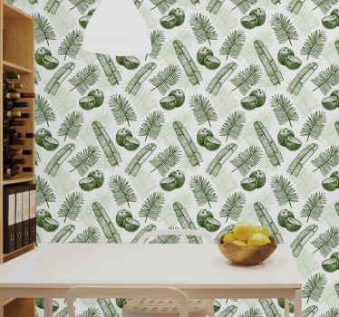 Lindo papel de parede de tema de selva com produtode coco e folhas de palmeira para cozinha doméstica, restaurantes e outra decoração de espaço.