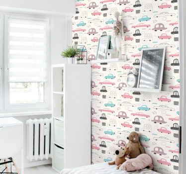 Papel de parede estampado colorido e divertido para quarto de criança. O papel de parede contém diferentes desenhos de carros antigos. Papel de parede fabricado de alta qualidade.