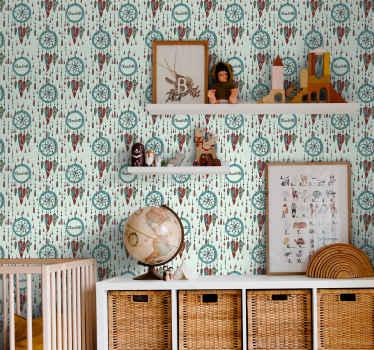 あなたの子供の部屋を飾るためにドリームキャッチャーでカラフルなパーソナライズされた壁紙。あなたの家に届けられる高品質の製品!