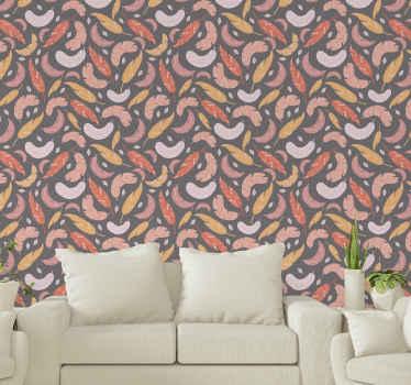 Dieser graue Hintergrund mit federn Tapete ist geeignet, um jeden Raum im Haus zu dekorieren. Es ist original, langlebig und einfach anzuwenden.