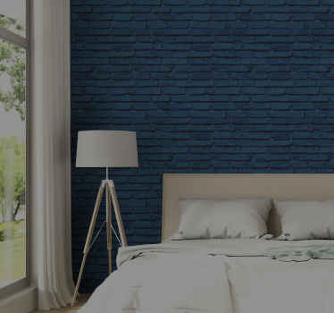 Brick wallpaper which features a pattern of bricks that have been painted blue. Super simple to apply to your walls. High quality.