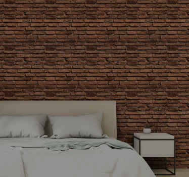 Brick wallpaper which features a pattern of brown bricks which looks very realistic. Available in various sizes. High quality materials.