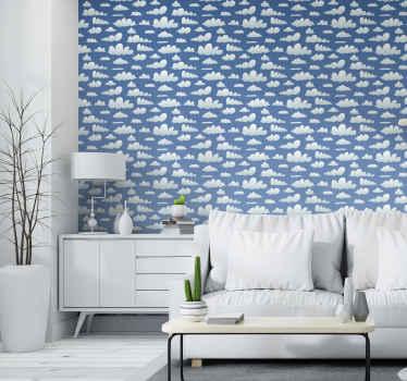 Decoratieve hemel met witte wolken behang voor thuis. Het behang is vervaardigd uit hoogwaardig materiaal en is duurzaam en gemakkelijk aan te brengen.