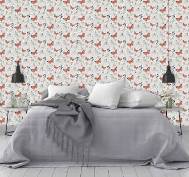 Butterfly wallpaper which features a pattern of beautiful butterflies and dragonflies with flowers and leaves in between them.