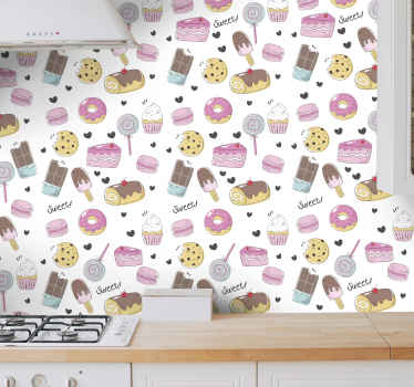 Kitchen wallpaper design that features a delicious pattern of  doughnuts, lollypops, chocolate and cakes with the word 'sweet' written around it.