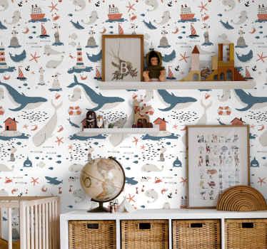 Papel de parede infantil que apresenta um padrão de objetos temáticos do oceano, incluindo gales, focas, peixes e estrelas do mar! Alta qualidade.