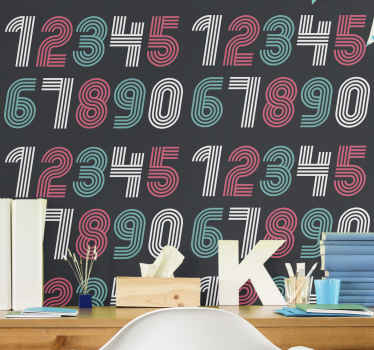 Numerology teen bedroom wallpaper. The design is suitable to decorate children bedroom. It design contains colorful numeric numbers from 1 to 0.