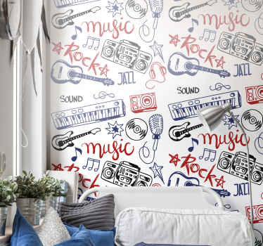 Musical instruments wallpaper for teen bedroom. Lovely and colorful featured music wallpaper with music instruments, symbols and music players.