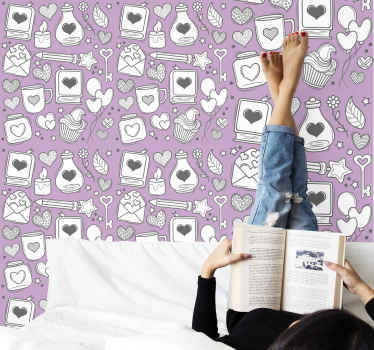 3D schlafzimmer Tapete mit vorgestellten liebe romantik illustration zeichnung designs wie liebesbücher, herzen, buchstaben, schlüssel, liebeskerzen und vieles mehr.