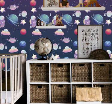 Papel de parede do quarto das crianças com ilustração de diferentes elementos do espaço. As crianças adorariam este papel de parede inspirado na ciência espacial em seu espaço.
