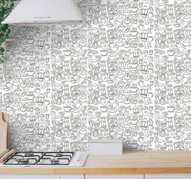 Patterned vinyl wallpaper for kitchen space decoration. Lovely design containing different coffee machines and and cup. Original, durable and durable.