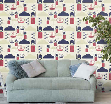 Queen's guards vintage wallpaper for bedroom and living room space. Lovely featured figures wallpaper manufactured with top quality material.