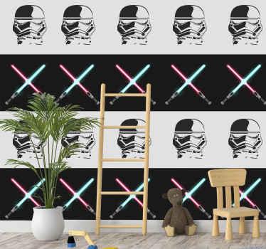 Papel pared juvenil que presenta un diseño impresionante de objetos temáticos de Star Wars como espadas y máscaras ¡Envío exprés!