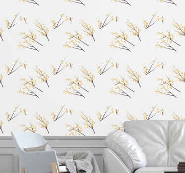 Floral wallpaper which features a stunning pattern of Cherry Blossom branches with the flowers as little bubbles. Choose your size.