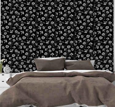 Fantástico papel pared flores blancas sobre fondo negro para decorar tu habitación con un diseño elegante y bonito ¡Envío exprés!