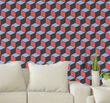 Geometrical squares 3D wallpaper. An assembled design of geometric cube shapes with three visible sides of black, blue and red colour.