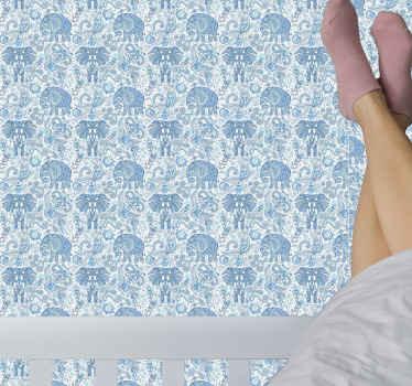 Sierolifanten dierenprint behang in blauwe kleur. Een geweldig ontwerp om de kamer van kinderen te versieren. Het is origineel en gemakkelijk aan te brengen.