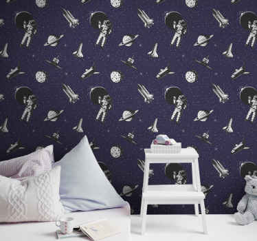 Children bedroom luxury wallpaper with amazing science space illustration featured design of astronauts, spaceships and space.