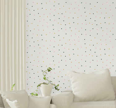 Decorative colorful geometrical triangles wallpaper for living room and other spaces. This design product is manufactured with top quality material.