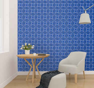Decorative blue squares with grey line wallpaper. The squares are filled with little insects and ornamental prints. Easy to apply and original.