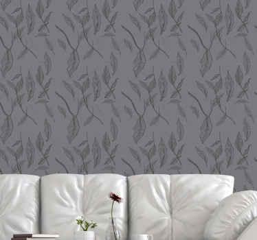 Papel pared hojas mágicas oscuras para decorar su dormitorio o salón. Diseño moderno para dar un toque de elegancia ¡Envío exprés!
