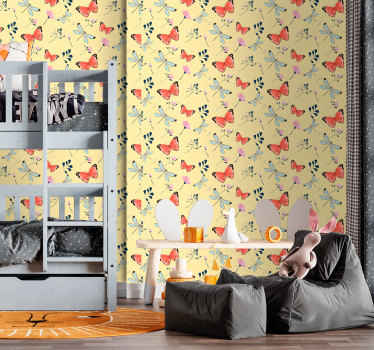 Butterfly  in a row of flowers wallpaper to decorate the room of the youngest one in a house. Yellow background wallpaper with multicolored butterflies