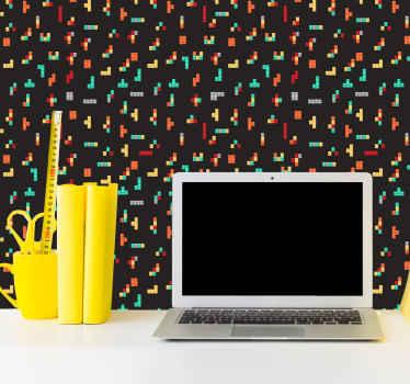 Fundo preto decorativo com papel de parede estampado de tetris. Papel de parede adequado para sala de estar e qualquer outro espaço interior de uma casa.