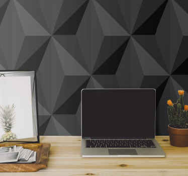 Geometrical 3D triangle wallpaper with a black texture. It is realistic and you would love it. It is easy to apply and adhesive.