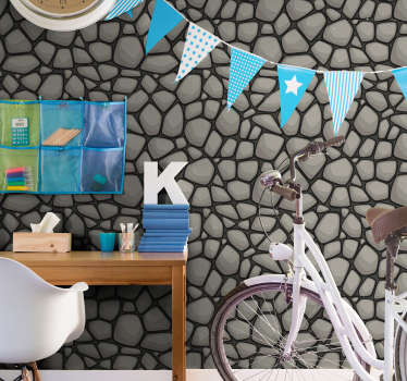 Spectacular textured wallpaper for children's room with a pattern imitating cobblestone in cartoon style perfect for kids room.