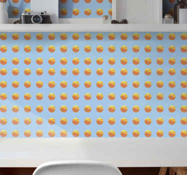 Kreisförmige form gemusterte Tapete, die sonnenuntergang illustriert. Das Design enthält zahlreiche runde kreise und eine farbenfrohe sonnenuntergangsillustration.