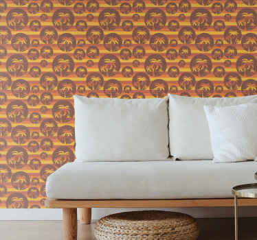Retro sunset and palms horizontal wallpaper. This design will look fantastic in your home or office, giving your space a summer  comfortable feel.
