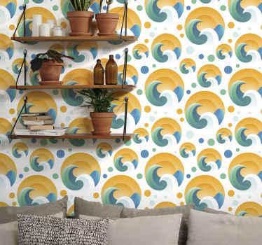 Carta da parati decorativa a forma di sole e onda geometrica con sfondo luminoso. Design adatto per il soggiorno e anche per altre aree della casa.