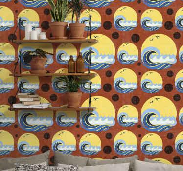Sonne, strand und welle geometrische form Tapete. Geeignetes Design für wohnzimmer und auch für andere bereiche im haus. Es ist original und langlebig.