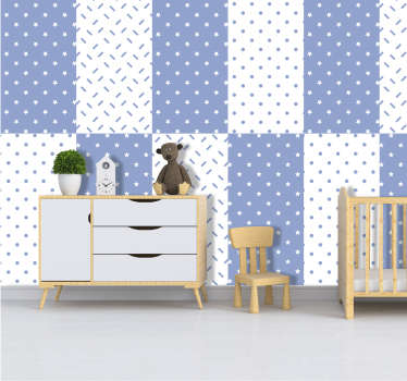 Blue stars children's bedroom Wallpaper
